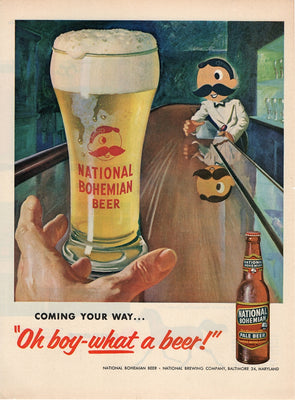 Vintage 1955 National Bohemian Pale Beer Ad