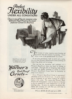 Antique 1921 Warner's Rust Proof Corsets Ad