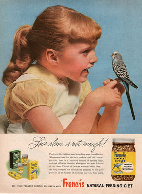 Vintage 1956 French's Parakeet Treat Food Ad