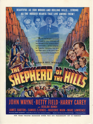 Vintage 1941 The Shepherd Of The Hills With John Wayne Movie Ad
