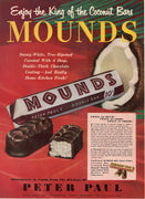 Vintage 1950 Peter Paul Mounds Coconut Candy Bar Ad
