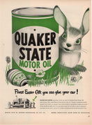 Vintage 1949 Quaker State Motor Oil Easter Bunny Ad