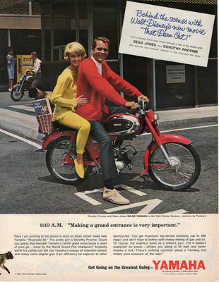 Vintage 1965 Yamaha Riverside 60 Motorcycle With Dean Jones Ad