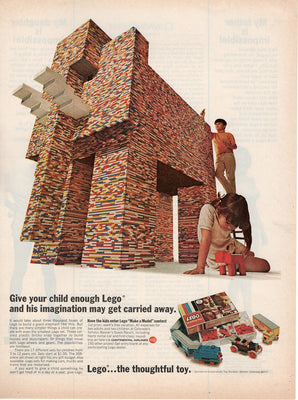 Vintage 1968 Lego Building Blocks Giant Elephant Ad
