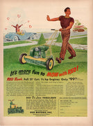Vintage 1950 REO De Luxe Trimalawn Lawn Mower Ad