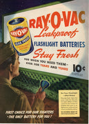 Vintage 1945 Ray-O-Vac Leakproof Flashlight Batteries Ad