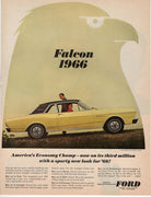 Vintage 1965 Ford Falcon '66 Yellow Car Ad