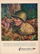 Vintage 1943 Western Electric Telephone WW2 Marine Corps Soldier Ad
