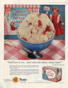Vintage 1958 Borden's Cherry Vanilla Elsie The Cow Ice Cream Ad