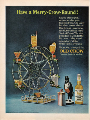 Vintage 1966 Old Crow Whiskey Merry-Crow-Round Ad