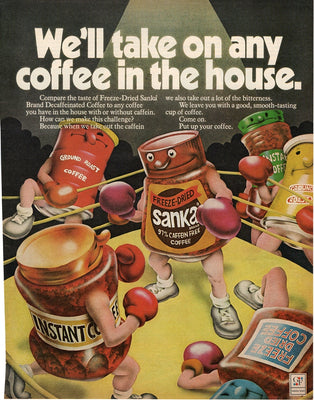 Vintage 1972 Sanka Coffee Boxing Ad