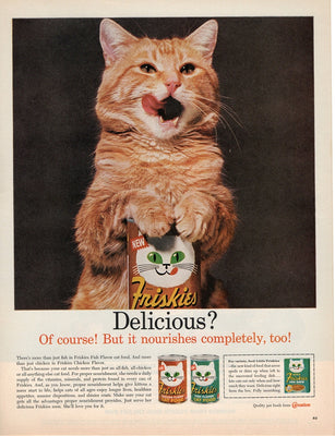 Vintage 1962 Friskies Cat Food Orange Cat Ad