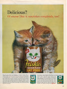Vintage 1962 Friskies Cat Food Orange Kittens Ad