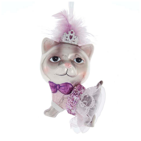 Glass Cat with Crown Ornament