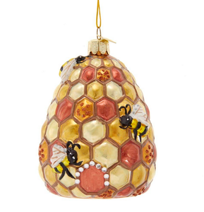 Bee & Bee Hive Glass Ornament