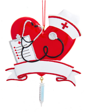 Nurse Heart Ornament Customizable