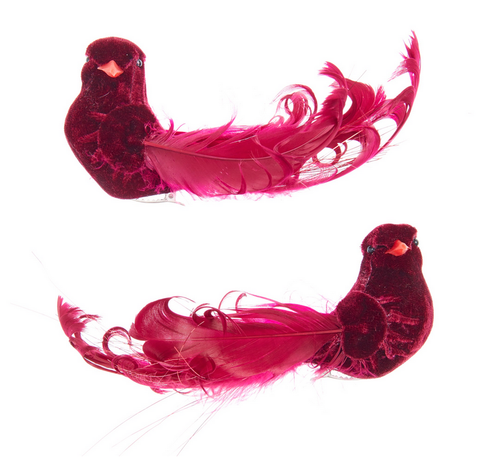Burgundy Bird with Clip