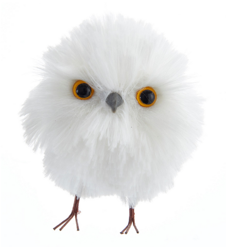 Round White Owl Ornament