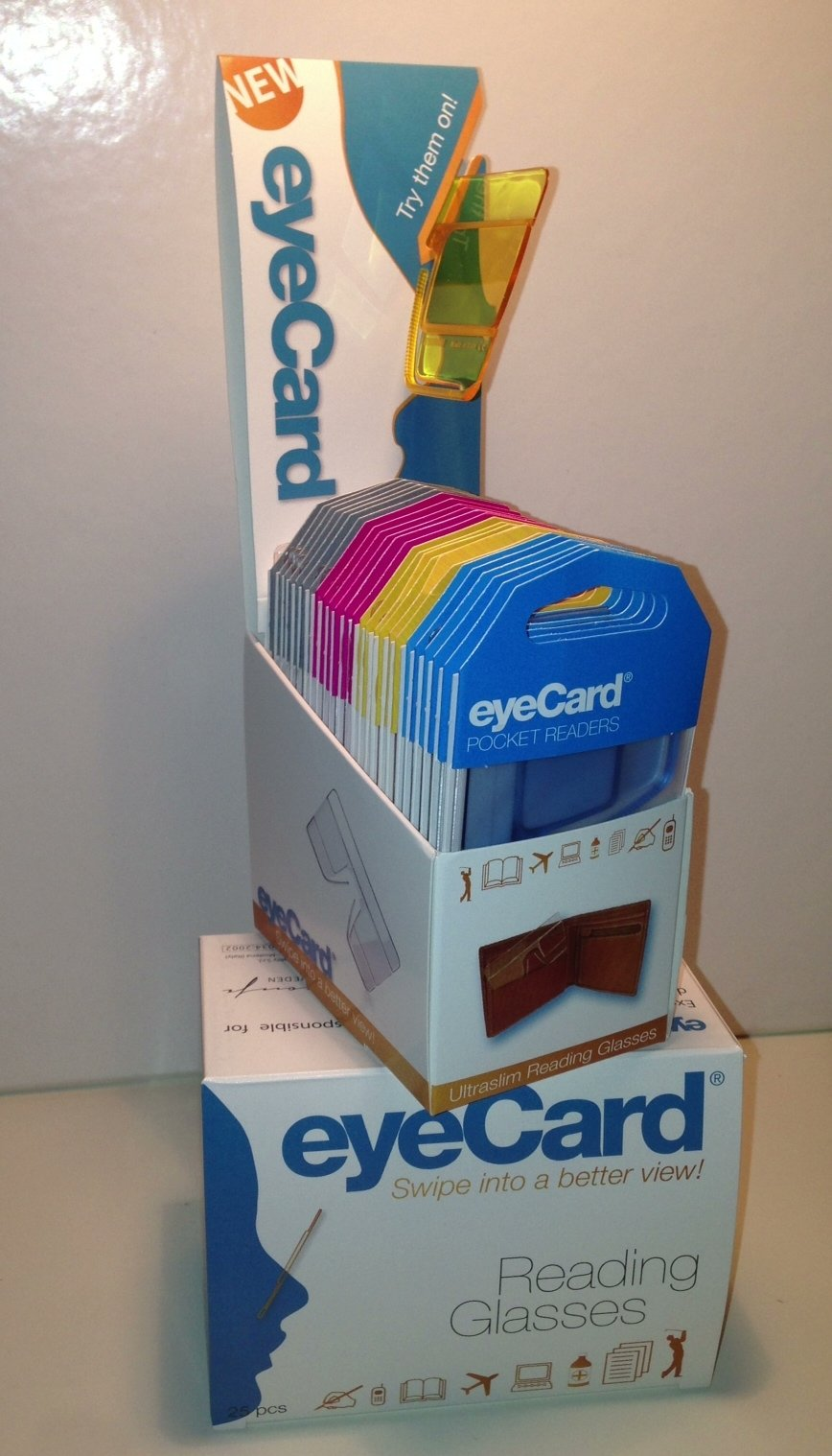 eyeCard Pocket Readers. Reading glasses size of a credit card. Retail.