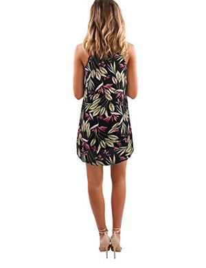 d41be5cf10f ... Blooming Jelly Women s Sleeveless Printed Flower Style Casual Floral  Mini Dress. Size chart