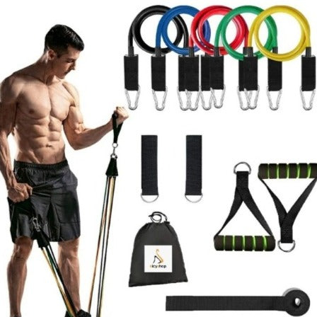 150 LBS Resistance Bands, 11pcs Workout Bands Resistance Bands Set with 5 Stackable Exercise Resistance Bands.