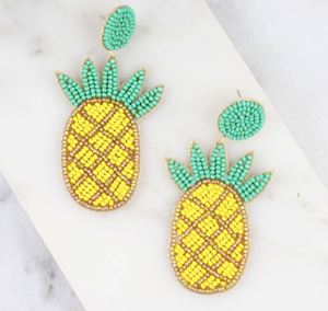 Beaded Pineapple Post Earrings