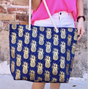 Navy Foil Pineapple Tote Bag