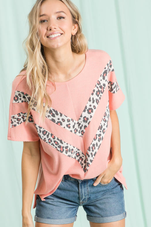 Coral and Leopard Chevron Top