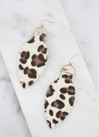 Ivory Leopard Feather Fish Hook Earrings
