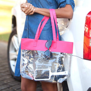 Hot Pink Clear Tote