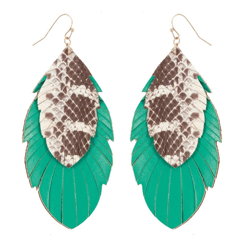 Mint Snakeskin Earrings