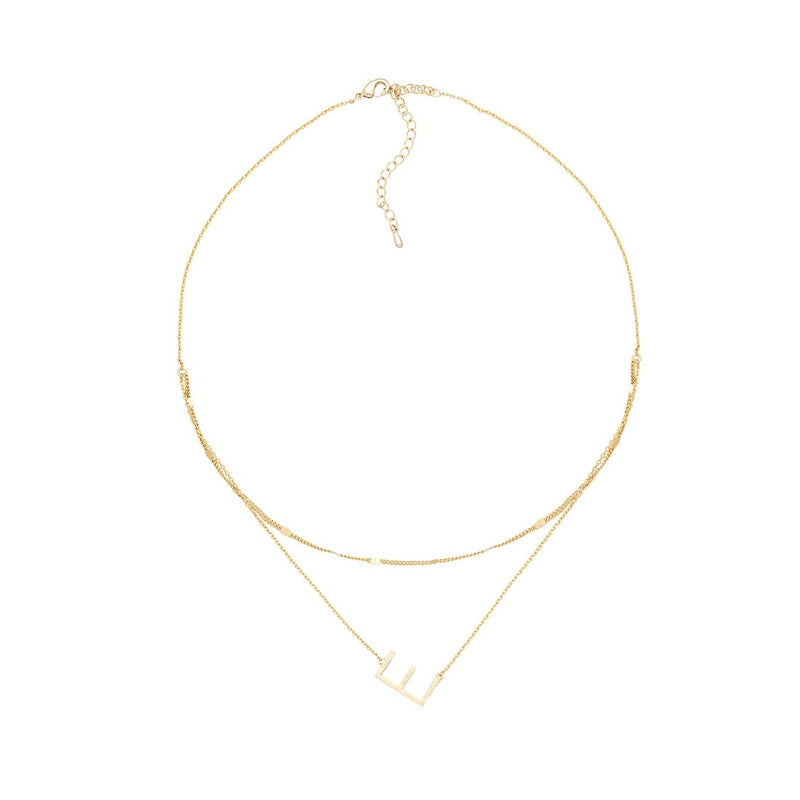 E Gold Double Chain Necklace