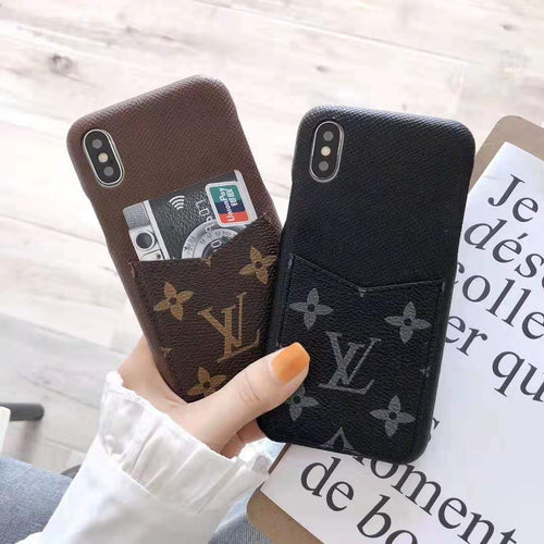 LV Style Leather Cardholder Designer iPhone Case For iPhone X XS XS Max XR 7 8 Plus