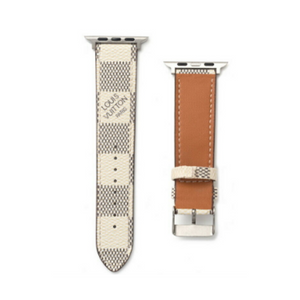 LV Checkered Damier White Apple Watch Band