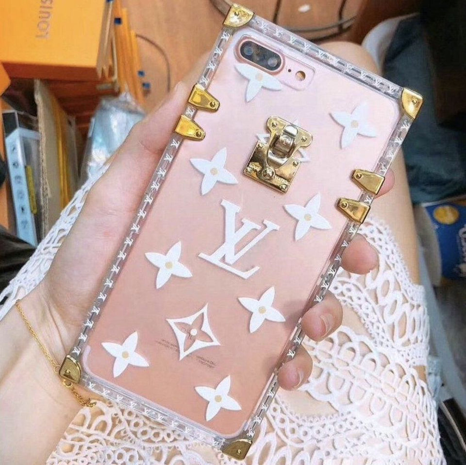 Transparent White LV Inspired Trunk iPhone Case