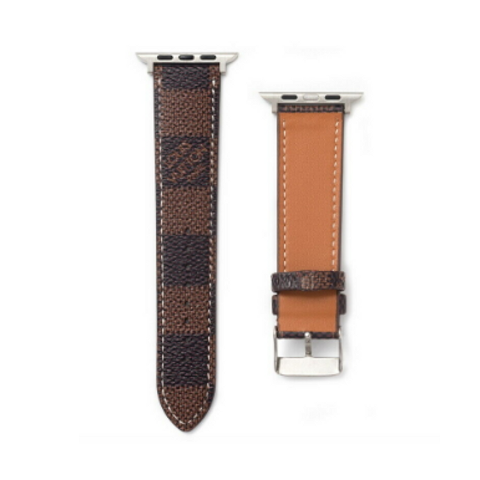 LV Checkered Damier Brown Apple Watch Band