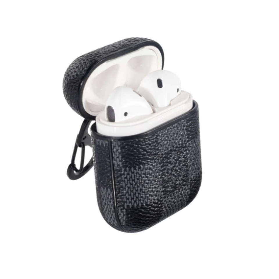 Luxury Checkered Leather ShockProof AirPods Case