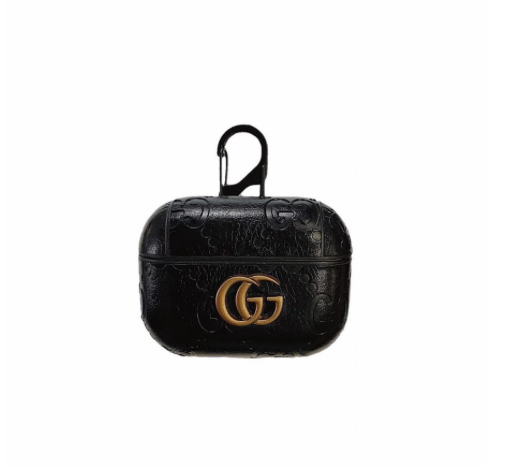 Black Leather GG Shockproof AirPods Pro Case