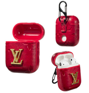 LV Style Leather ShockProof Case for Apple Airpods 1 & 2