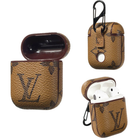 LV Monogram Style Light Brown Leather ShockProof Case for Apple Airpods 1 & 2