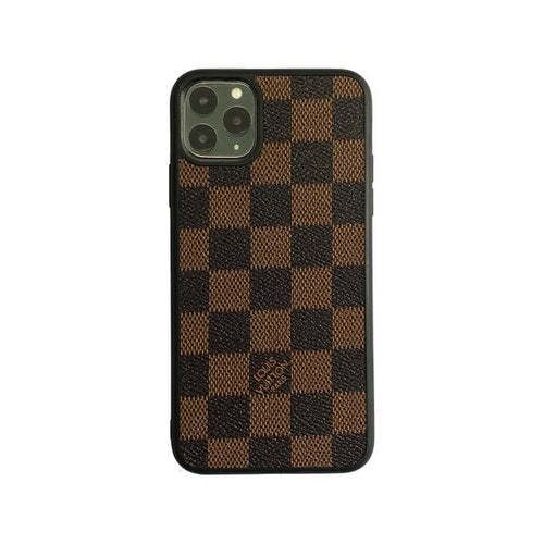 Checkered Full Cover iPhone Case - Brown