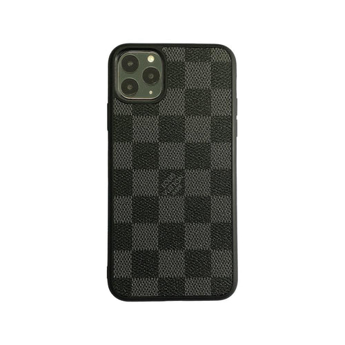 Checkered Full Cover iPhone Case - Black