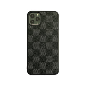 LV Checkered Full Cover iPhone Case - Black