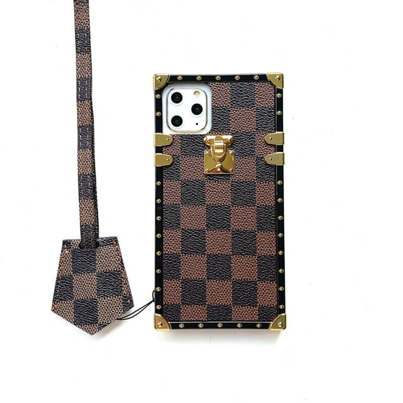 Brown Checkered Trunk iPhone Case with Lanyard