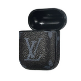 LV Black Monogram Style Inspired Leather ShockProof Case for Apple Airpods 1 & 2