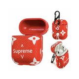 Supreme x LV Leather ShockProof Case for Apple Airpods 1 & 2