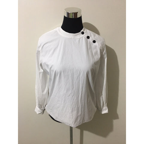 White Long sleeve Qipao Neckline Shirt - pieces-by-jenny