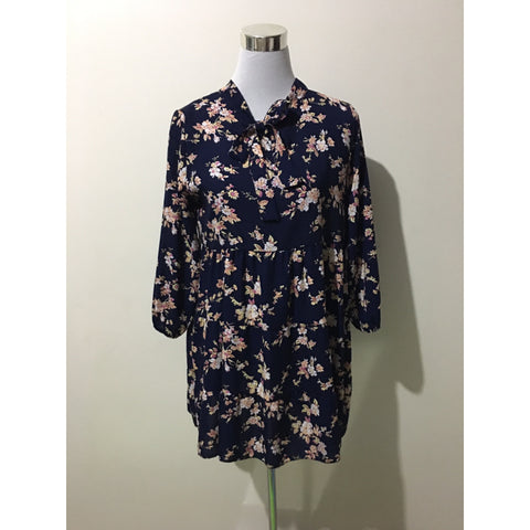 Vintage Vibe Navy Blue Floral Dress