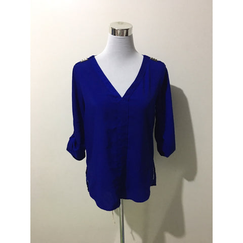 ZARA Royal Blue Long Sleeve Blouse