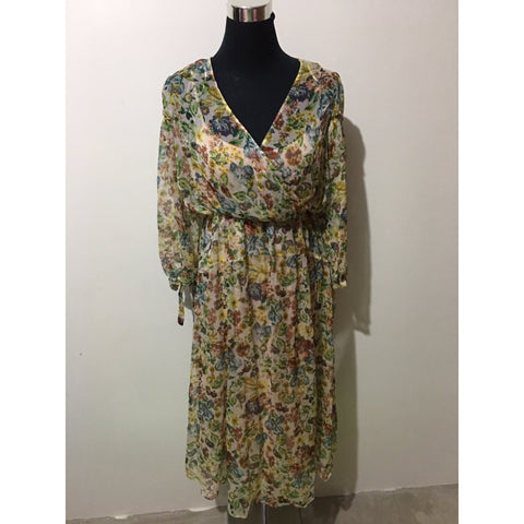 ZARA Crepe Printed Long Sleeve Dress